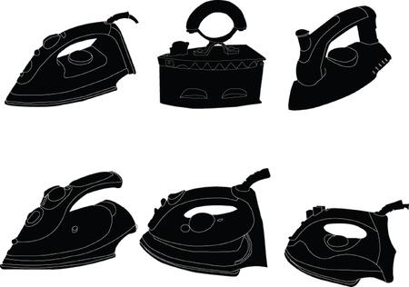 electric iron: iron collection - vector