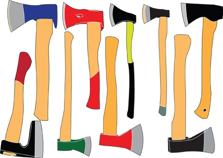 felling: collection of wood axe silhouette - vector