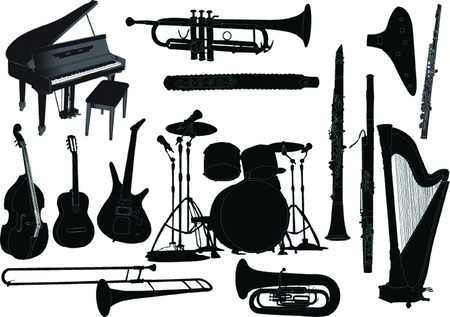 accordion: musical instruments collection - vector Illustration