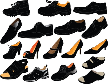 high heeled: footwear collection - vector