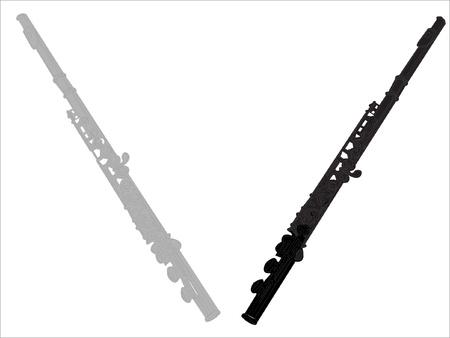 clarinete: dos flautas - Vector