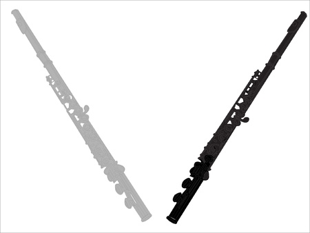 two flutes illustration - vector Vector
