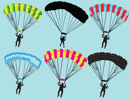 parachuting: parachutist collection - vector