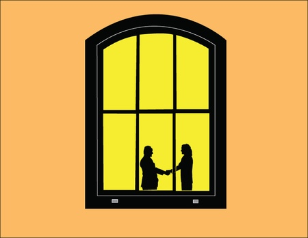 siluetas: view through window illustration - vector