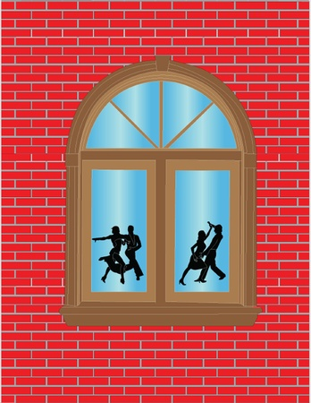 waltzing: view through window illustration - vector