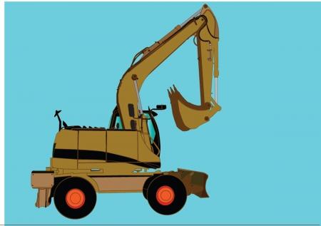 leveling: Excavator Machine sillhouette ilustratition