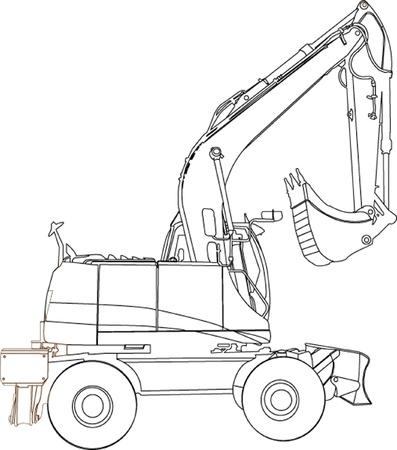 front loader: Máquina excavadora sillhouette ilustratition Vectores