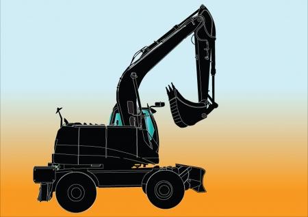 sillhouette: Excavator Machine sillhouette ilustratition