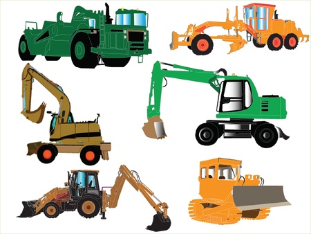 construction machine collection Vector
