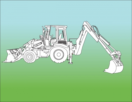 Excavator Machine sillhouette ilustratition Vector