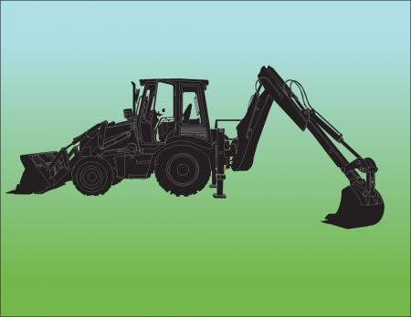 trencher: Excavator Machine sillhouette ilustratition