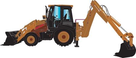 cargador frontal: M�quina excavadora sillhouette ilustratition Vectores