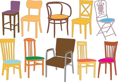 chairs collection illustration Vector