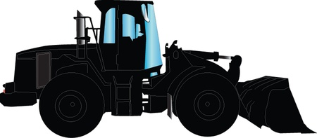 wheel loader: loader silhouette Illustration