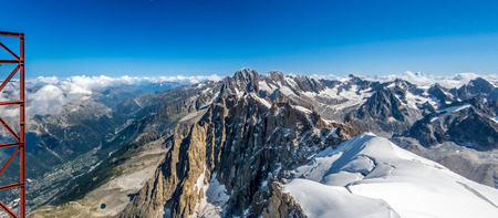blanc: Panoramic view of peaks around Mont Blanc Stock Photo