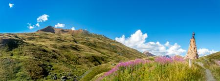 cloud capped: Panorama of Saint Bernard pass in Alps Stock Photo