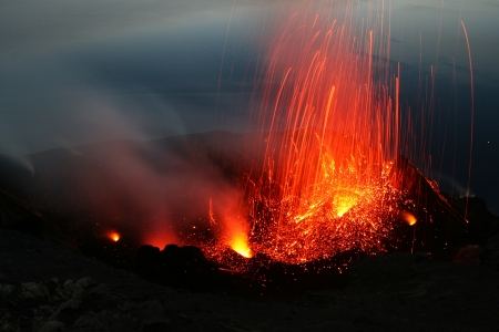 Volcanic eruption at Stromboli photo