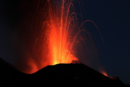 dawn eruption at Stromboli volcano Italy Stock Photo - 15084226