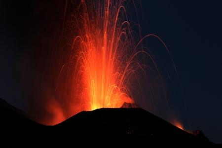 stromboli: dawn eruption at Stromboli volcano Italy