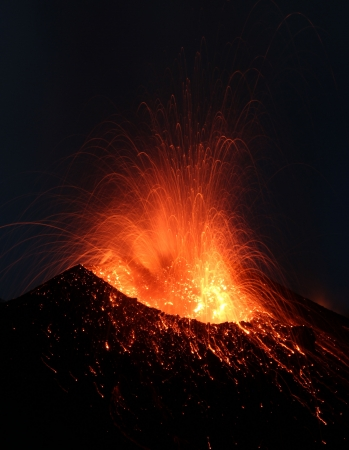 Close view into the erupting crater Stock Photo