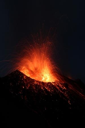 eolian islands: Erupting Stromboli