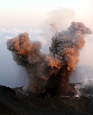 Daytime ash eruption volcano Stromboli