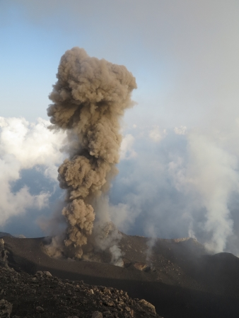 High ash eruption at volcano Stromboli Stock Photo