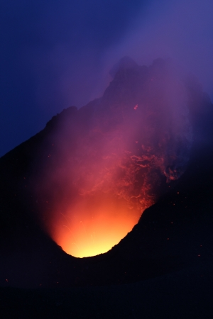 Vie into the hell, Volcano Stromboli lava lake Stock Photo