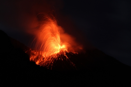 eolian islands: Night eruption Stromboli