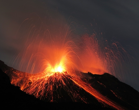 Powerful strombolian eruption volcano Stromboli Stock Photo