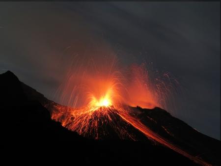 Stromboli volcano erupting photo