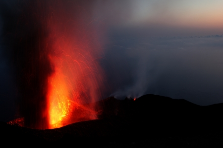 eolian islands: Strombolian eruption at volcano Stromboli in Italy Stock Photo