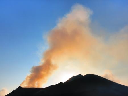 Strong eruption of Volcano Stromboli in Italy Sicily Stock Photo