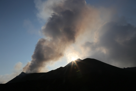 Strong eruption of Volcano Stromboli in Italy Sicily Stock Photo