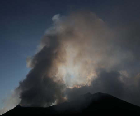Strong eruption of Volcano Stromboli in Italy Sicily photo