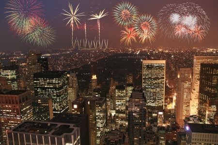Manhattan at night with fireworks
