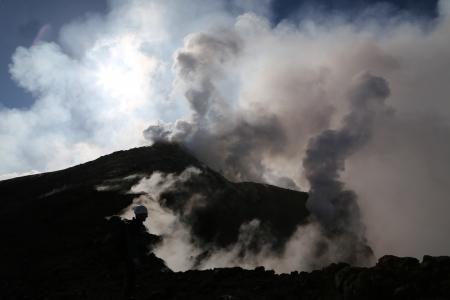stromboli: Volcano etna in Sicily with steam emission in the morning sun