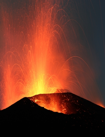 Volcano Stromboli erupting night eruption Italy eolian islands
