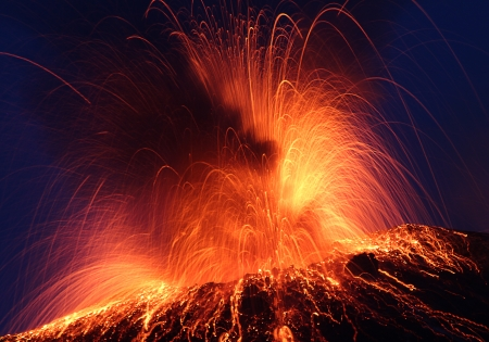 volcanic landscape: Volcano Stromboli erupting night eruption Italy eolian islands