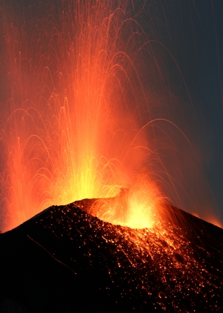 volcanos: Volcano Stromboli erupting night eruption Italy eolian islands