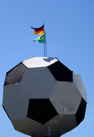 German and Brazilian flag on football Reklamní fotografie