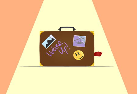 valise: Vector travelers brown vintage leather suitcase with stickers