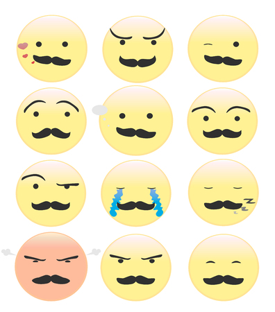 smileys: Yellow smileys with a black mustache. illustration Illustration