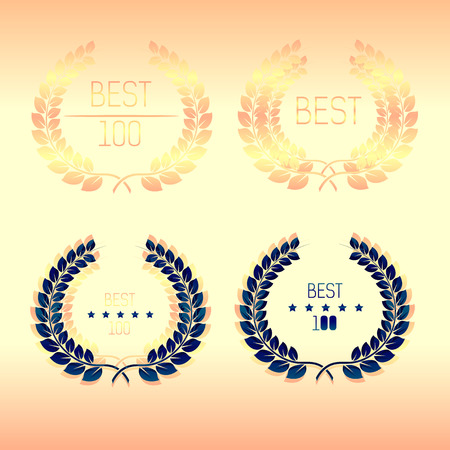 best quality: Laurel wreath quality. Hundred .Best. Vector illustration.