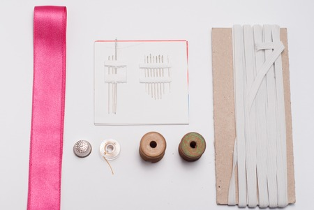 sewing tools: sewing tools and accessories on white background