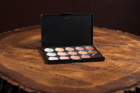 foundation problems: Cosmetic palette Foundation powder on wooden table