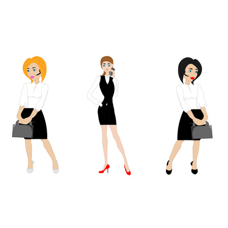 attire: three young women in business attire from your phone, laptop and folders