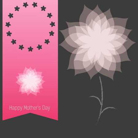 pink ribbon: Happy Mothers Day. Holiday Illustration with pink ribbon and flower