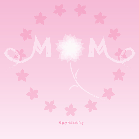 designer labels: Happy Mothers Day. Festive cards with designer labels and a white flower Illustration