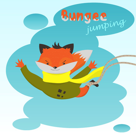 phobia: Bungee jumping: cute cartoon Fox jumps elastic on the background of clouds Illustration
